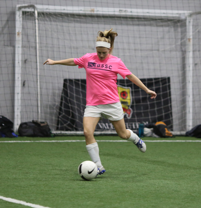 BSSC Indoor Soccer Player in Pink Takers Her Shot