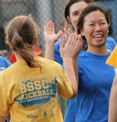 BSSC Kickball Happy Teams High Five for Good Sportsmanship