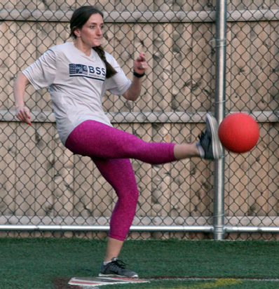 BSSC Kickball Player Kicks Ball