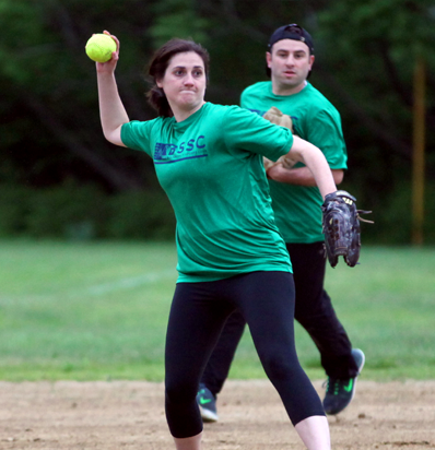 BSSC Softball Adult Coed Sfotball Pitcher in green wins up on mound