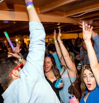 BSSC Social Events Rock the Baot Party Cruise Below Deck Hands Up Party Shot Dance Floor Crowded and Happy